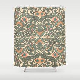 Green Vines Folk Art Flowers Pattern Shower Curtain