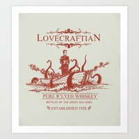 whiskey Art Prints featuring Lovecraftian Whiskey by Pigboom Art