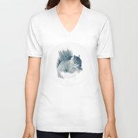squirrel V-neck T-shirts featuring squirrel by Peg Essert