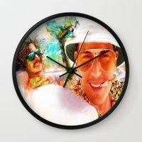 fear and loathing Wall Clocks featuring Fear and Loathing in Las Vegas by ururuty