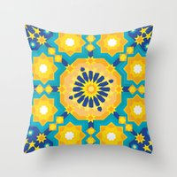 sacred geometry Throw Pillows featuring Sacred Geometry by Tashi Delek