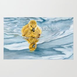 Is That Me? - Canadian Goose Gosling Acrylic Painting by Teresa Thompson Rug