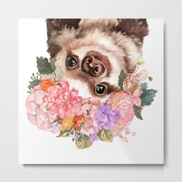 Baby Sloth with Flowers Crown in White Metal Print