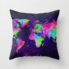 NEON EARTH MAP IN SPACE Throw Pillow