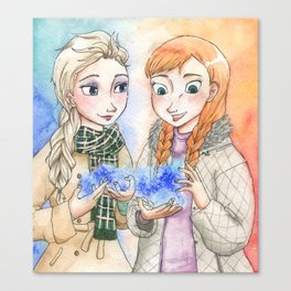 Ice Magic - Elsa and Anna from Frozen Canvas Print
