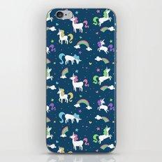 Unicorns and Rainbows - teal -tiny iPhone & iPod Skin