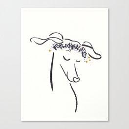 Sweet Greyhound Dog Fergie with Flower Crown Canvas Print