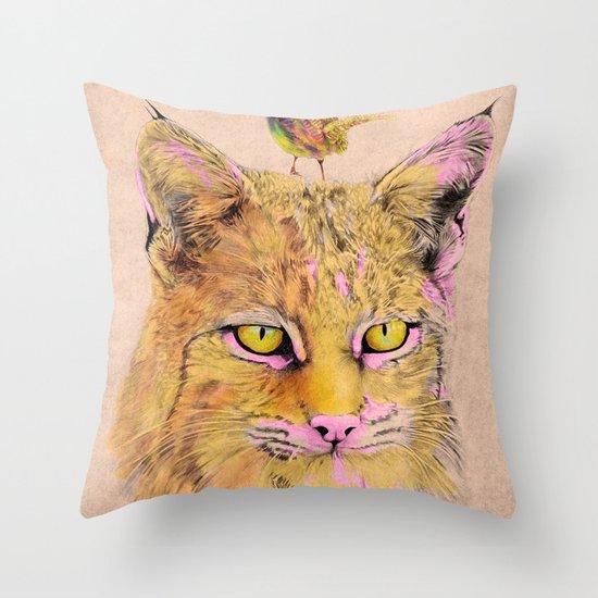 Cat&Bird 2 Throw Pillow