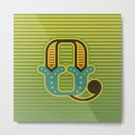 Alphabet Drop Caps Series- Q Metal Print
