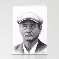 bill murray Stationery Cards featuring Drawing of Bill Murray by Brittni DeWeese