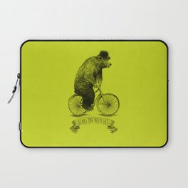 Bears on Bicycles (Lime) Laptop Sleeve