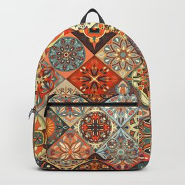 Vintage patchwork with floral mandala elements Backpack