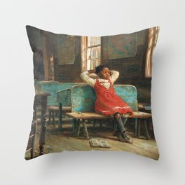 African American Masterpiece Portrait 'Kept In' by Edward Lamson Henry Throw Pillow