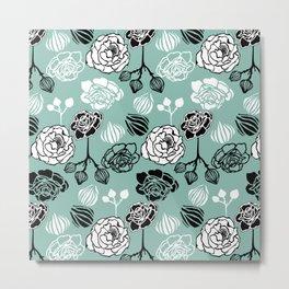 BW Gardenia on Turquoise Metal Print