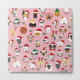 Christmas Dog Pattern Illustration Metal Print