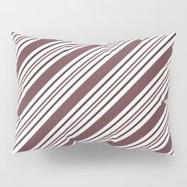 Pantone Red Pear and White Thick and Thin Angled Lines - Diagonal Stripes Pillow Sham