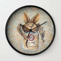 cookies Wall Clocks featuring Bat Cookies by Patrizia Ambrosini