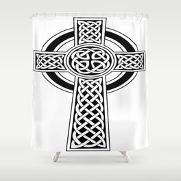 St Patrick's Day Celtic Cross Black and White Shower Curtain