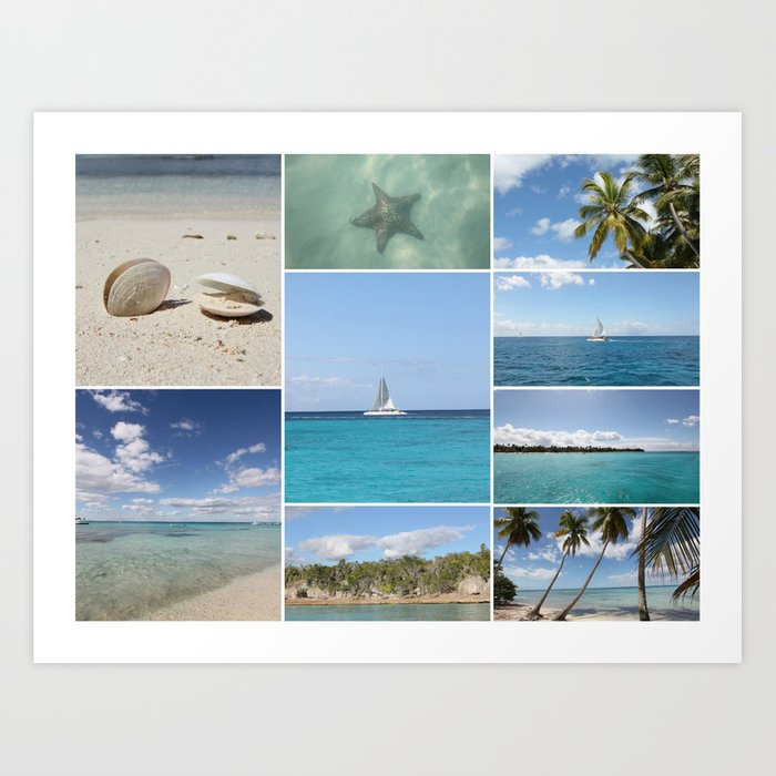 Scenic Caribbean Collage Art Print