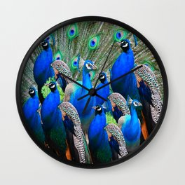 FLOCK OF BLUE PEACOCKS Wall Clock