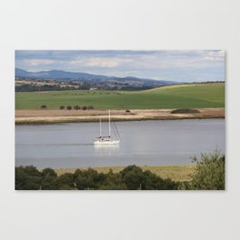 Motoring up River Canvas Print