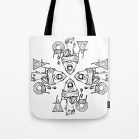 fight Tote Bags featuring Fight by Benson Koo