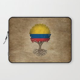 Vintage Tree of Life with Flag of Colombia Laptop Sleeve