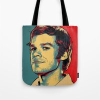 dexter Tote Bags featuring Dexter by Above & Beyond Graphic Studios