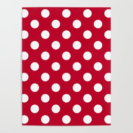 Red and Polka White Dots Poster