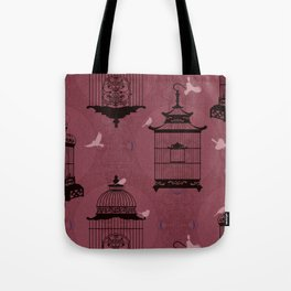 Rasberry Empty Brid Cages Tote Bag