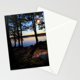 Camping on Lake Pemaquid in Damariscotta, Maine Stationery Cards