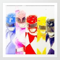 power rangers Art Prints featuring Power Rangers by americanmikey
