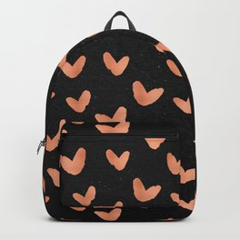 Rose Gold Hearts on Black Backpack