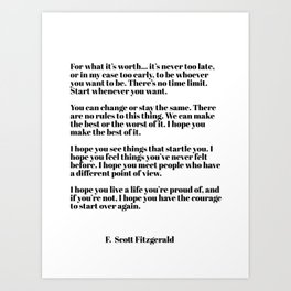 for what it's worth - fitzgerald quotes Art Print