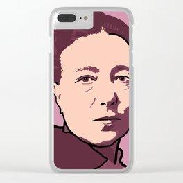 Simone de Beauvoir Red Pink Mauve Clear iPhone Case