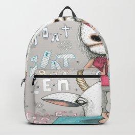 goat yoga, gray white aqua turquoise red Backpack