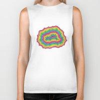 geode Biker Tanks featuring Rainbow Geode by Audrey Pixel Designs