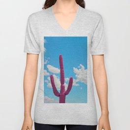 Pink Saguaro Against Blue Cloudy Sky Unisex V-Neck