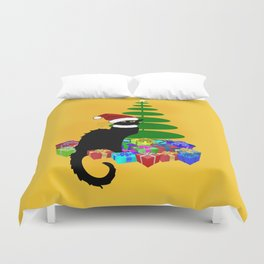 Christmas Le Chat Noir With Santa Hat Duvet Cover