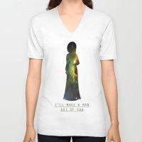 mulan V-neck T-shirts featuring Space Princesses: Mulan by Maggie B Hudak