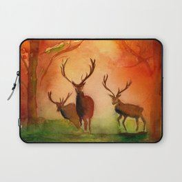 Stags in Autumn Woodland in the Fall Watercolor Print Laptop Sleeve