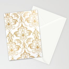 Gold foil swirls damask 17 Stationery Cards
