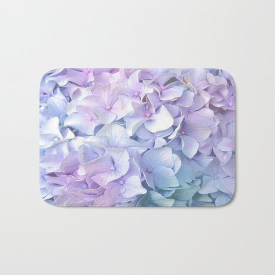 Soft Pastel Hydrangea Bath Mat