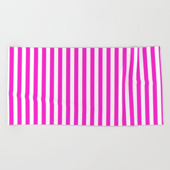 Vertical Stripes (Hot Magenta/White) Beach Towel