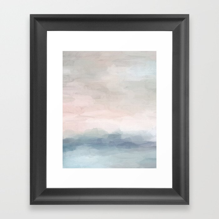 Blush Pink Mint Sky Baby Blue Abstract Ocean Sky Sunrise Wall Art, Water Clouds Painting Gerahmter Kunstdruck