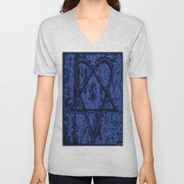 Nightfall Blue Heartagram Unisex V-Neck