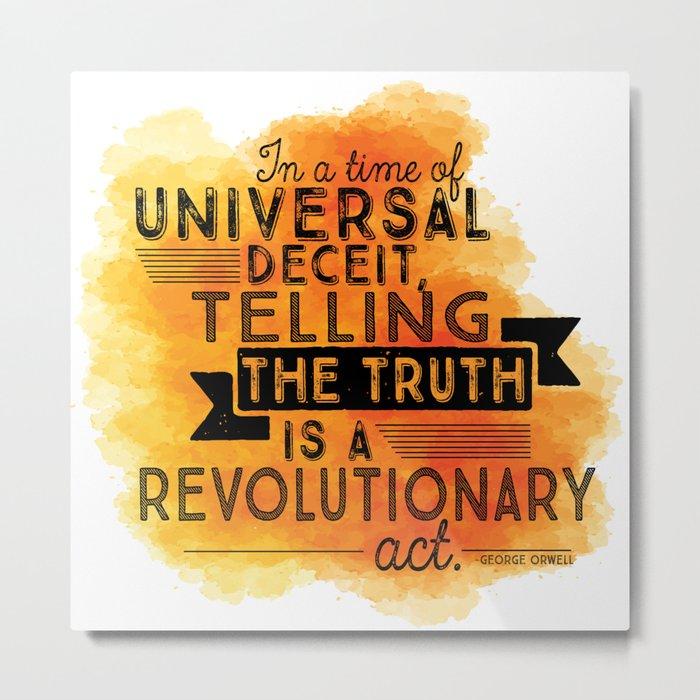 Revolutionary Act - quote design Metal Print