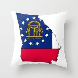 Georgia Map with Georgian Flag Throw Pillow