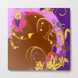 Modern Purple-Coffee Color Fantasy Scrolls & Flowers Ferns Art Metal Print