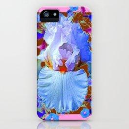 PASTEL IRIS & BLUE MORNING GLORIES PINK PATTERNS iPhone Case